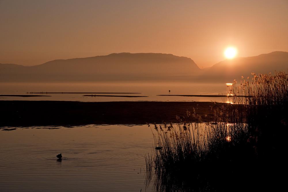 Sonnenuntergang am Neuenburgersee, Schweiz