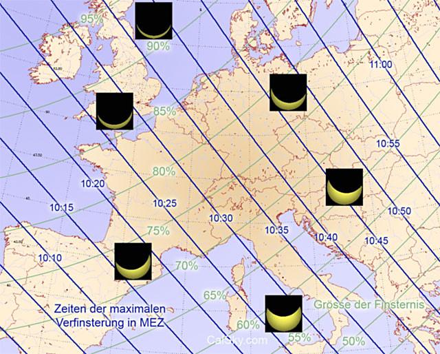 Zeiten der Finsternis und maximale Abdeckung der Sonne. Berechnung und Grafik: A. Barmettler/CalSky