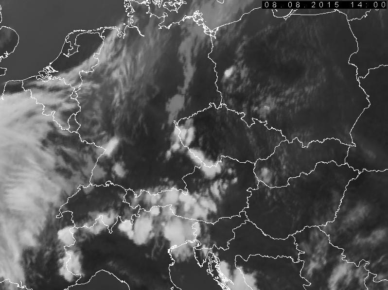 Satellitenbild vom 08.08.2015, 14:00 UTC = 16:00 MESZ  (Quelle: Eumetsat, chmi.cz)