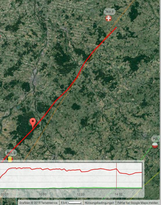 Die rote Markierung zeigt die Position während des starken Höhenverlustes um 14:00 MESZ von 3100 auf 2500 m