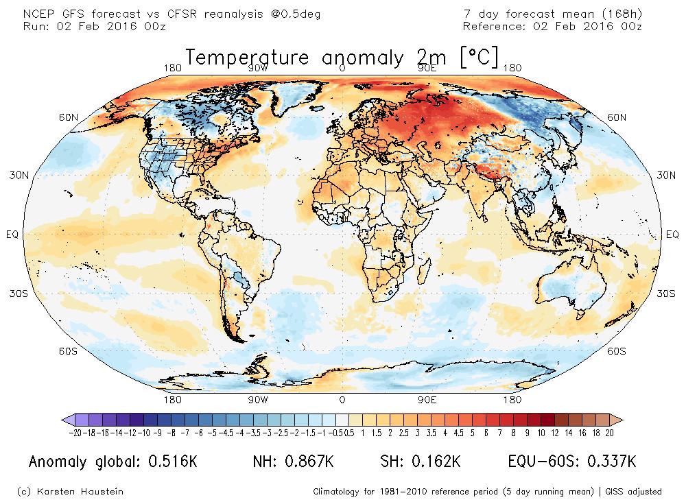 Prognostizierte Temperaturabweichung gegenüber der Klimanorm 1981-2010 vom 02.02. bis 08.02.2016 (Bildquelle: karstenhaustein.com)