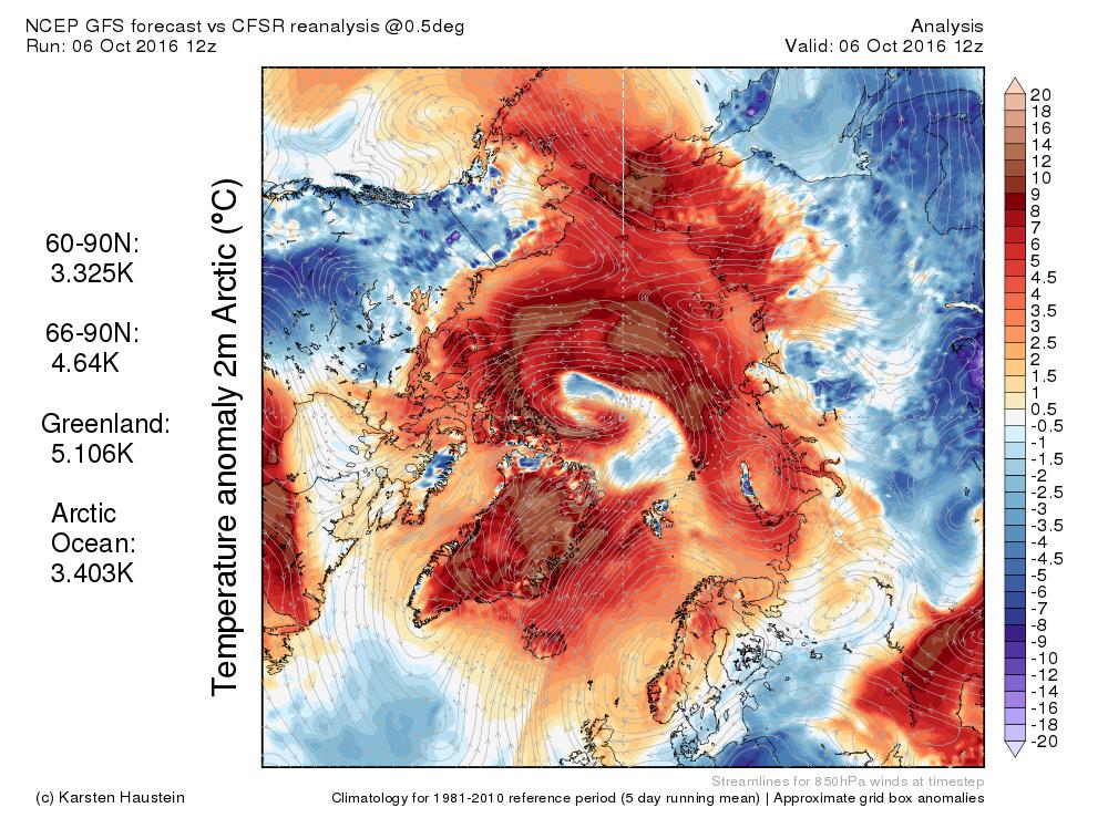 Die Abweichung der Lufttemperatur 2 m über Boden im Vergleich zur Klimanorm 1981-2010 vom 06.10.2016