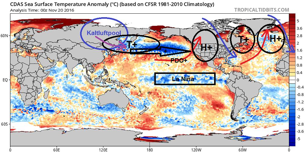 Abweichung der Wassertemperatur vom 20.11.2016 zum Klimamittel 1981-2010 (Originalquelle tropicaltidbits.com, Nachbearbeitung fotometeo.ch)